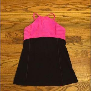 Lululemon Hot Pink & Black High Neck Tank Top